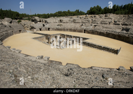 Spain. Italica. Roman city founded c. 206 BC. Amphitheatre. 117-138 BC. Andalusia. - Stock Photo