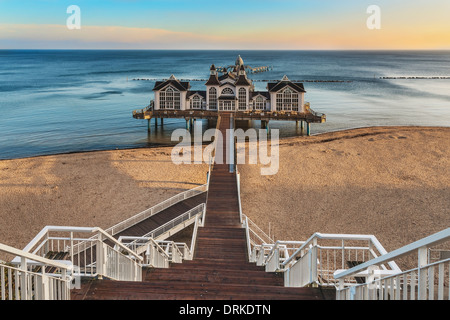 The Sellin Pier is a pier at the Baltic Sea, Sellin, Ruegen Island, Mecklenburg-Western Pomerania, Germany, Europe - Stock Photo
