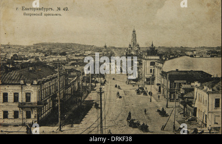 Pokrovsky Prospekt Avenue in Yekaterinburg, Russian Empire. Old postcard. - Stock Photo