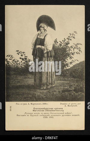 Merchant's wife from Yekaterinburg. Old postcard: Russian women from the time of the French invasion of Russia in - Stock Photo