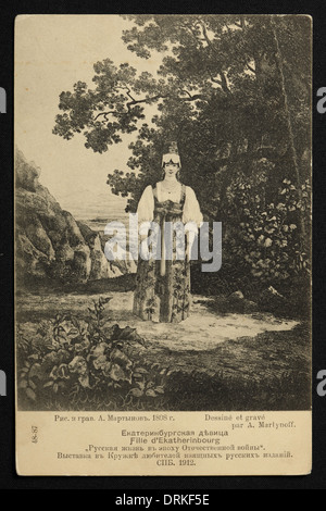Young woman from Yekaterinburg. Old postcard from the cycle Russian women from the time of the French invasion of - Stock Photo