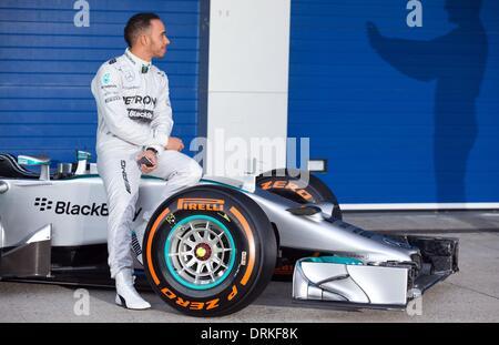 Jerez de la Frontera, Southern Spain. 28th Jan, 2014. British Formula One driver Lewis Hamilton of Mercedes AMG - Stock Photo