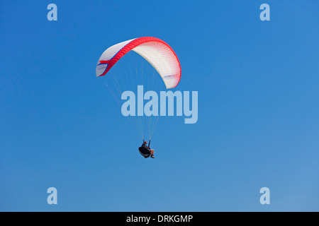 Paraglider in flight with colourful wing / canopy against blue sky - Stock Photo
