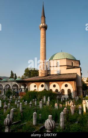 Emperor's Mosque and its old cemetery, Sarajevo, Bosnia and Herzegovina - Stock Photo
