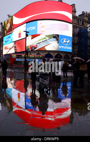 Wet Weather in Piccadilly Circus, London - Stock Photo