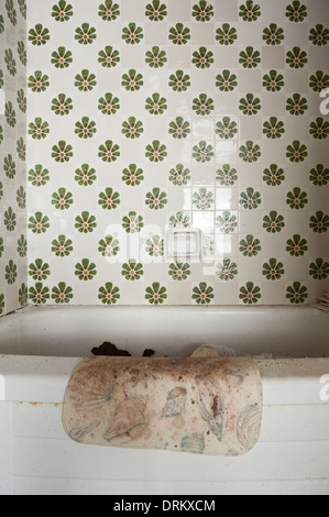 A moldy bathmat hanging on the side of a bathtub in an abandoned motel in Ontario, Canada. - Stock Photo