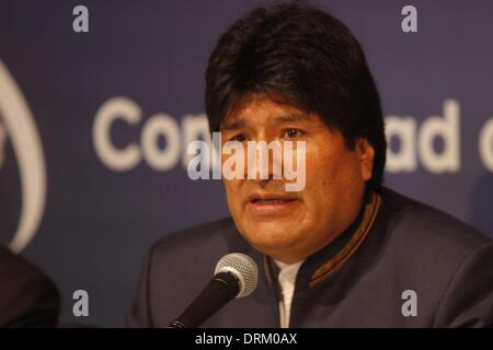 Havana, Cuba. 28th Jan, 2014. Bolivian President, Evo Morales, speaks at a press conference where he confirmed that - Stock Photo