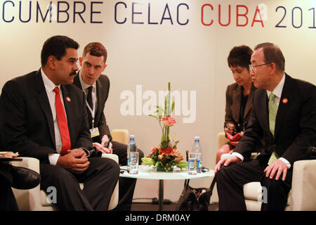 Havana, Cuba. 28th Jan, 2014. Image provided by Venezuela's Presidency shows Venezuelan President Nicolas Maduro - Stock Photo
