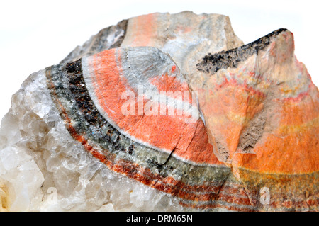 Banded Barian Celestine (strontium sulphate) sphalerite and calcite crystals - Stock Photo
