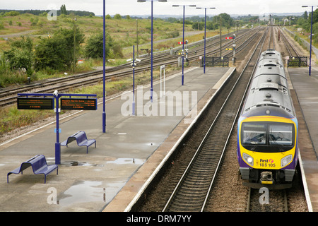 First Transpennine Trains Class 185 diesel multiple unit train at Barnetby railway station. - Stock Photo