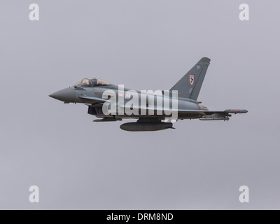 29 Squadron RAF Eurofighter Typhoon jet fighter flying at the 2013 RIAT airshow - Stock Photo