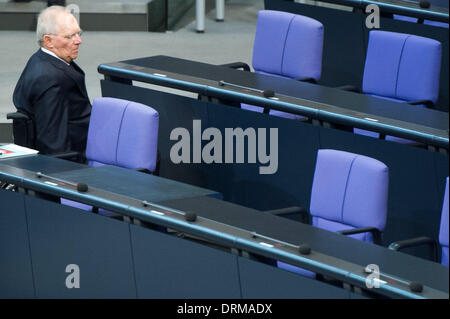 Berlin, Germany. 29th Jan, 2014. German Finance Minister Wolfgang Schaeuble makes a statement to the German Parliament in Berlin, Germany, 29 January 2014. Photo: MAURIZIO GAMBARINI/dpa/Alamy Live News