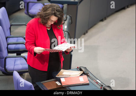 Berlin, Germany. 29th Jan, 2014. German Labour Minister Andrea Nahles during the session of the German Parliament in Berlin, Germany, 29 January 2014. Photo: MAURIZIO GAMBARINI/dpa/Alamy Live News