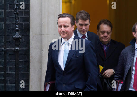 Westminster London, UK. 29th January 2014. British Prime Minister David Cameron leaves his residence at Downing Street ahead of Gavin Williamson  to attend the weekly (PMQ)Prime Minister's Questions before parliament at the House of Commons in Westminster Credit:  amer ghazzal/Alamy Live News Stock Photo