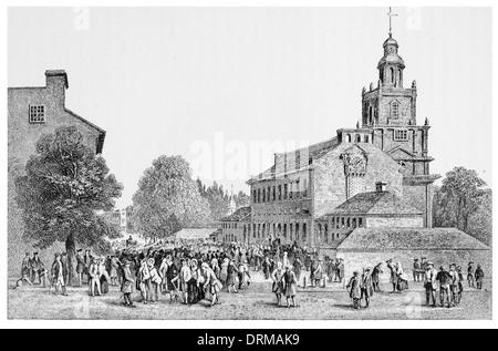 Old State House Philadelphia circa 1840 - Stock Photo