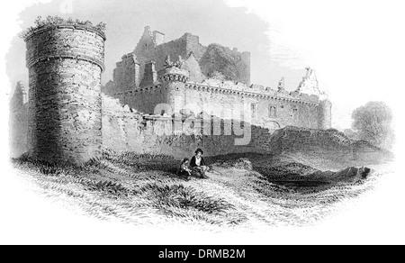 Craigmillar Castle Scotland circa 1850 - Stock Photo