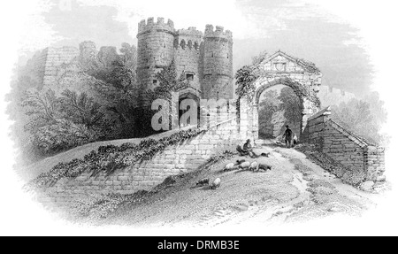 Carisbrooke Castle motte and bailey castle Isle of Wight. Gateways and Keep circa 1850 - Stock Photo