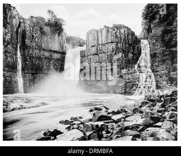 High Force Waterfall Barnard Castle near Middleton in Teesdale, County Durham Photographed Circa 1910 - Stock Photo