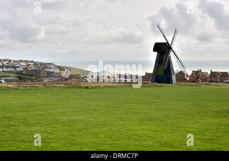 Village of Rottingdean near Brighton in East Sussex. England. With windmill. - Stock Photo