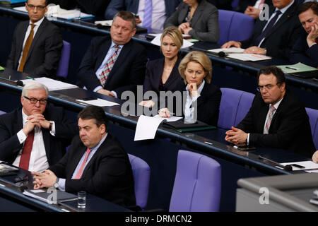Berlin, Germany. January 29th, 2014. Chancellor Merkel gives a Government statement at German Parliament in Berlin. Following on at the Cabinet meeting in Meseberg, the Chancellor outlines the priorities of the work of the Federal Government in the coming years. Credit:  Reynaldo Chaib Paganelli/Alamy Live News