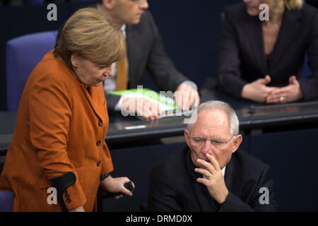 Berlin, Germany. January 29th 2014. Important speech of the German Chancellor in the BundesTag moves all Parliament  and all German Ministers. Goncalo Silva/Alamy Live News