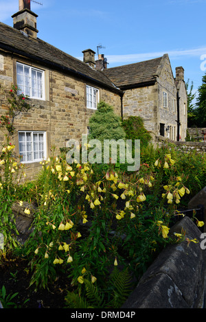 Front of stone cottages in the historic plague village of Eyam in the Peak District Derbyshire England - Stock Photo