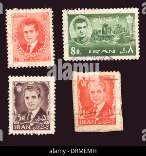 Iranian stamps depicting the Shah of Iran Mohammad Reza Pahlavi - Stock Photo