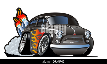 retro cartoon hotrod - Stock Photo