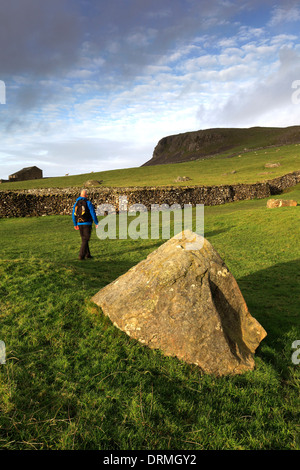 Walker on Scales Moor near the village of Ingleton, Yorkshire Dales National Park, England, UK - Stock Photo