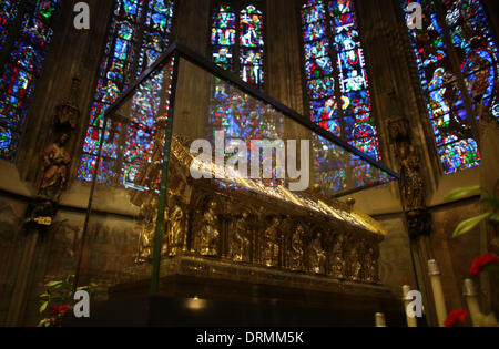 Aachen, Germany. 29th Jan, 2014. The Karlsschrein (Shrine of Charlemagne) is pictured in Aachen Cathedral in Aachen, - Stock Photo