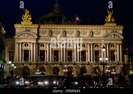 The Palais Garnier, Opera House in Paris at night, France. - Stock Photo