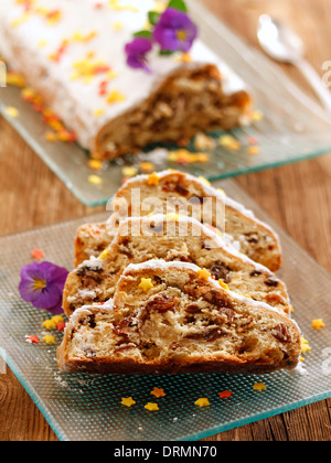 Marzipan cake with raisins (Stollen). Recipe available. - Stock Photo