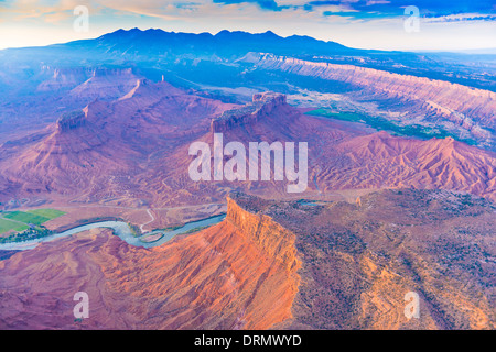 Colorado River flows through Richardson Amphitheater near Castle Valley and Moab Utah - Stock Photo