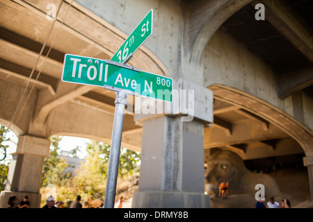 Photograph of Street Sign by the Freemont Troll in of Seattle, Troll Ave. - Stock Photo