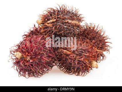 rambutan group isolated on white - Stock Photo