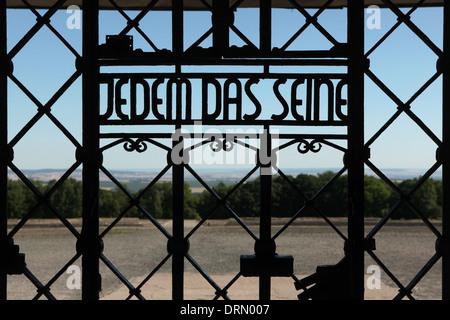 Jedem das Seine. Main gate of Buchenwald concentration camp near Weimar, Germany. - Stock Photo