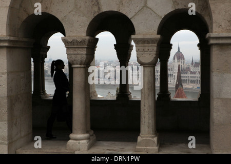Hungarian Parliament Building on the embankment of the Danube seen from the Fisherman's Bastion in Budapest, Hungary. - Stock Photo
