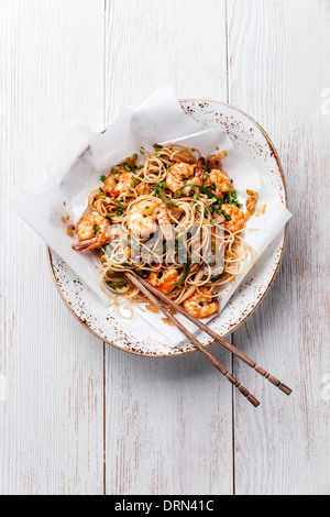 Thai rice noodles with shrimp - Stock Photo