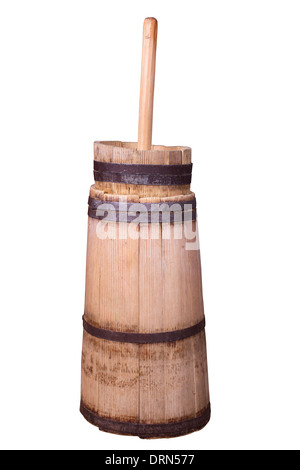 old butter churn isolated on a white background - Stock Photo