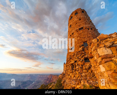 Desert View Watchtower Watch Tower Grand Canyon South Rim National Park scenic view overlooking the Colorado River. - Stock Photo