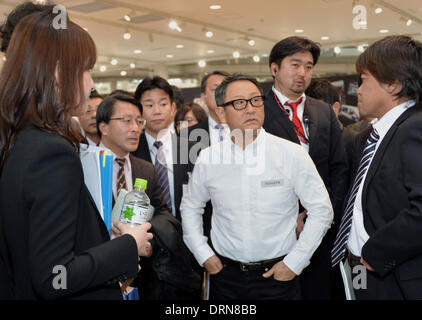 Tokyo, Japan. 30th Jan, 2014. President Akio Toyoda of Japan's Toyota Motor Corp., answers questions to reporters - Stock Photo