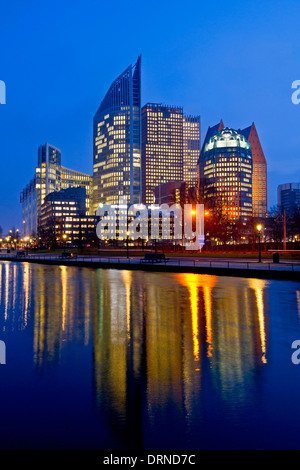 The Netherlands. The Hague by night. Government buildings - Stock Photo