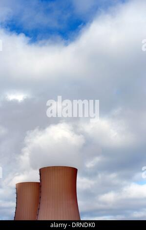 Cooling towers of the nuclear power plant Grohnde in Germany, 28. January 2014. Photo: Frank May - Stock Photo