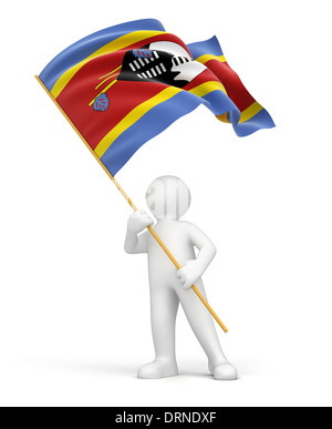 Man and Swaziland flag (clipping path included) - Stock Photo