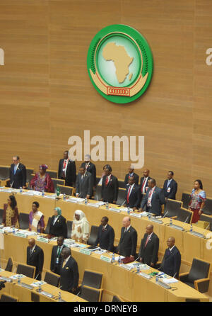 Addis Ababa, Ethiopia. 30th Jan, 2014. Delegates commemorate Nelson Mandela at the beginning of the African Union - Stock Photo