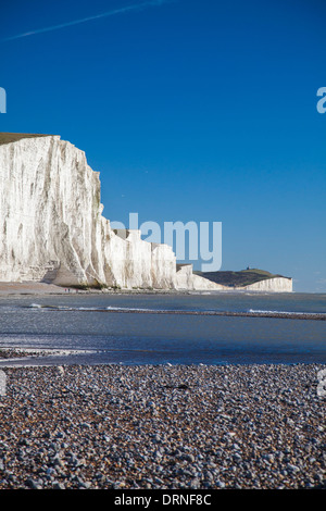The Seven Sisters from Cuckmere Haven Beach, County Sussex, England. - Stock Photo