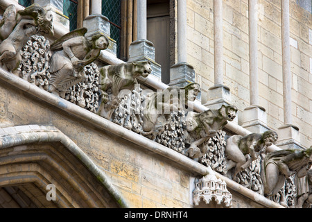 Gargoyles at the Notre Dame Cathedral in Dijon in the Burgundy region of France - Stock Photo