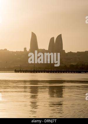 Baku, Azerbaijan, seen from the Baku Boulevard. - Stock Photo