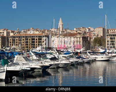 Boats in the Old Port harbor in Marseille, Provence-Alpes-Cote d'Azur, France, Europe - Stock Photo