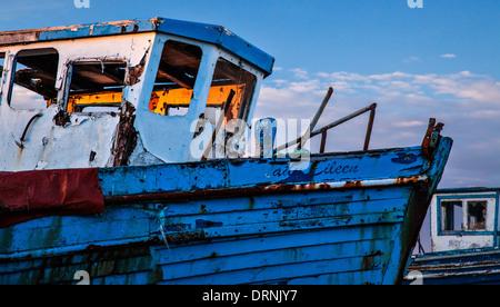Evening light on an old fishing boat, Killala, County Mayo, Ireland. - Stock Photo
